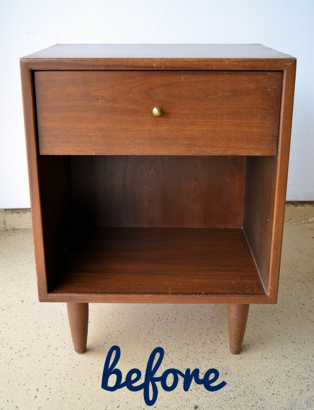 This wooden night stand before it's redone looks vintage and dated.