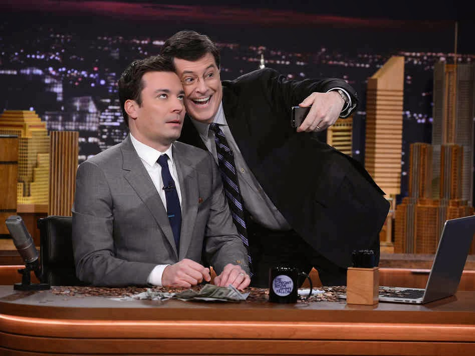 Stephen Colbert and Jimmy Fallon pose for a selfie.