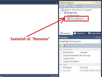 4 - #Vb.Net Part 5  – Tutorial Cara Mengganti Nama(Rename) Form