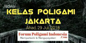 Forum Poligami Indonesia menyelenggarakan Kelas Poligami untuk wilayah Jakarta yang akan diselenggarakan pada Ahad, 29 Juli 2018