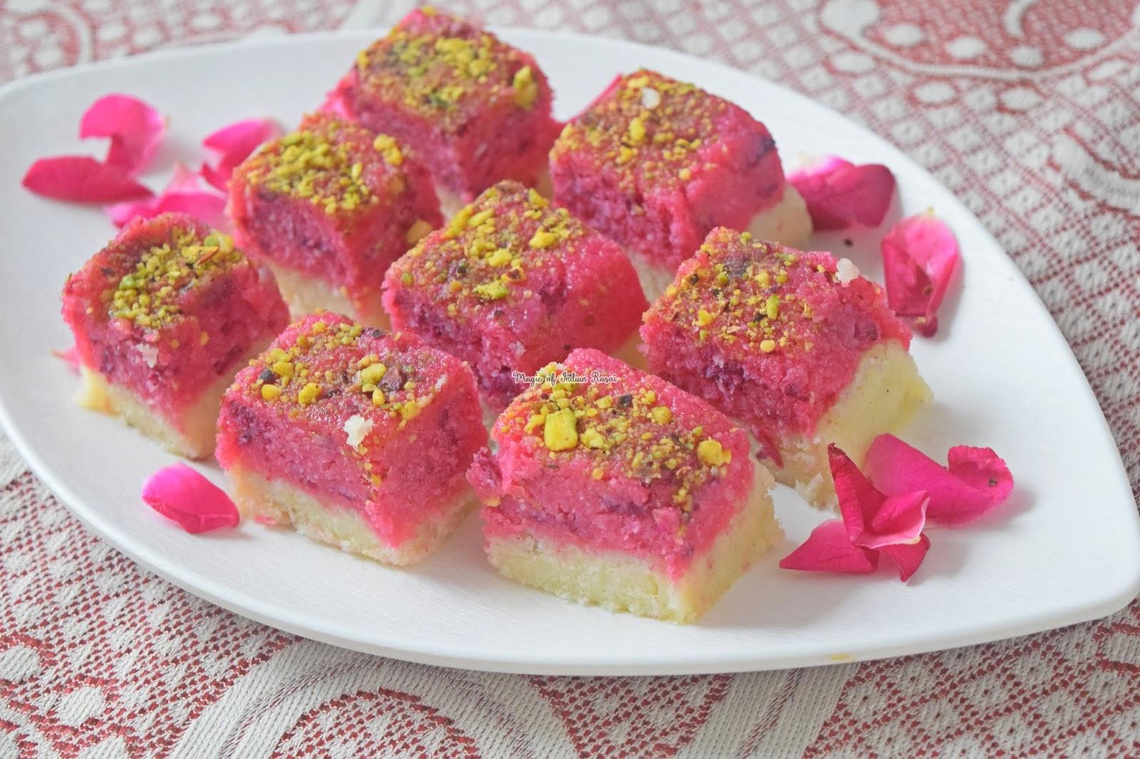 Rose Coconut Barfi - Gulab Kopra Pak Recipe 2