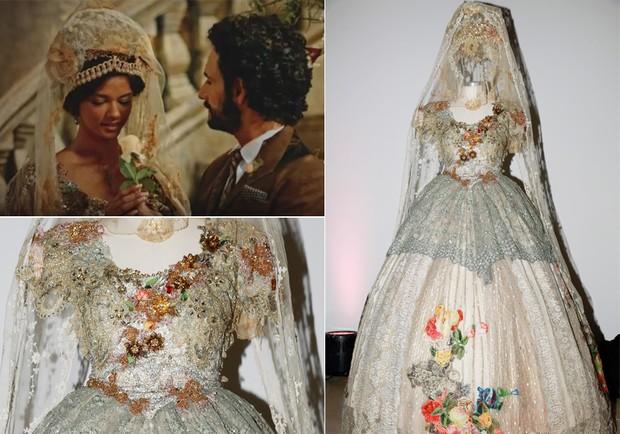vestido luxuoso, branco com bordados de flores, véu e coroa alta