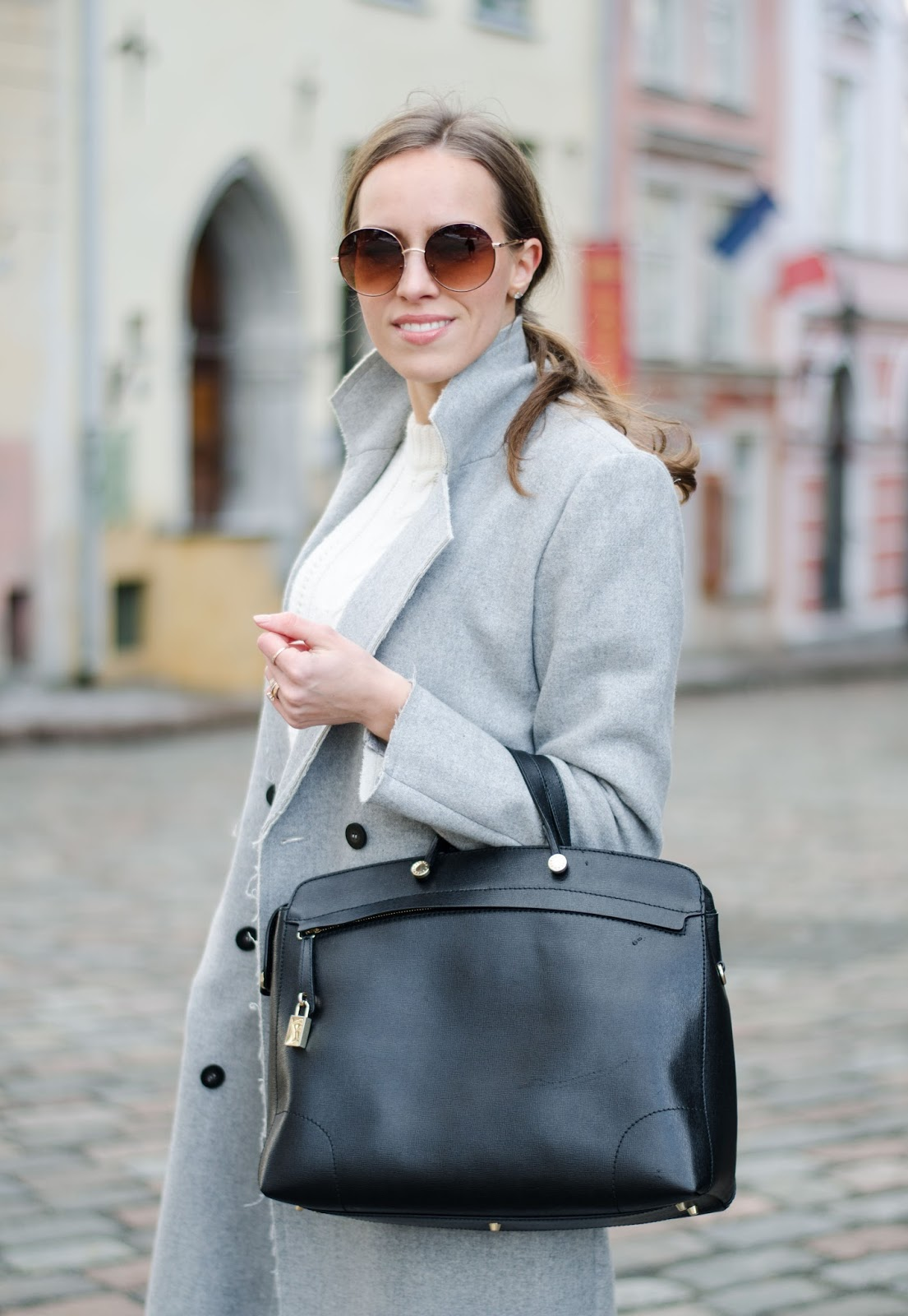 kristjaana mere vila gray wool coat lindex round sunglasses furla black leather bag