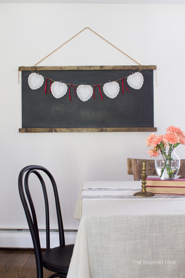 An easy DIY banner for farmhouse Valentine's Day decor