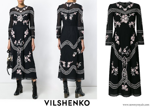 Crown Princess Mary wore VILSHENKO floral embroidered midi dress