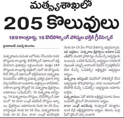 Telangana Fisheries Department Jobs 2017 fisheries.telangana.gov.in