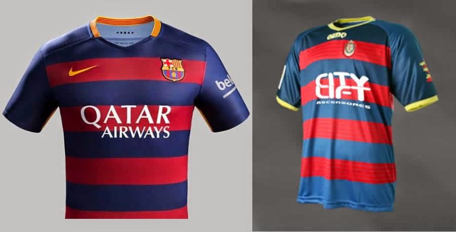 ... que modificara el diseño de su camiseta para no coincidir con la nueva  indumentaria que presentará el FC Barcelona a partir de la próxima temporada 6f646038ca751