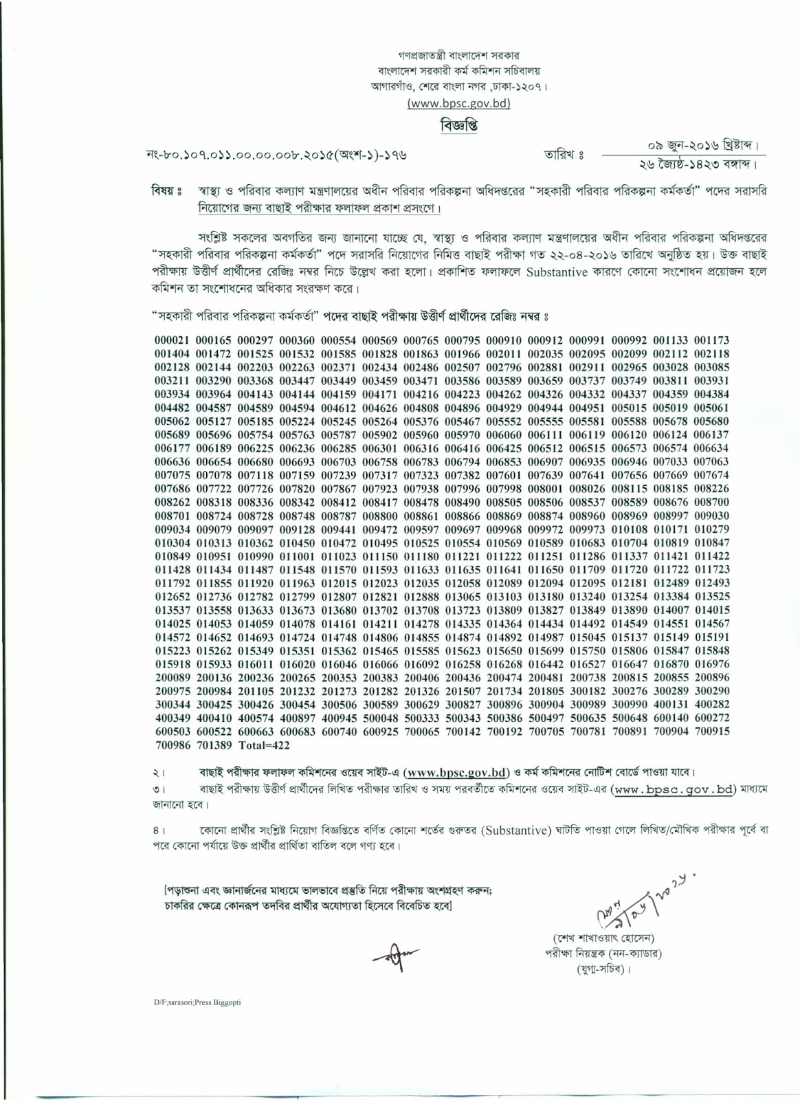 Assistant Family Planning Officer Result 2016 by BPSC - BD Results 24