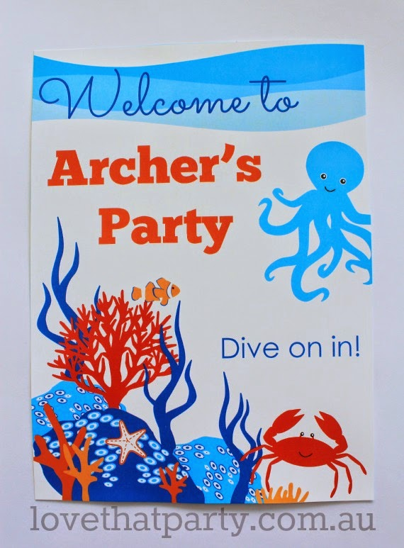 Printable Welcome sign at Under the Sea first Birthday Party by Love That Party. www.lovethatparty.com.au