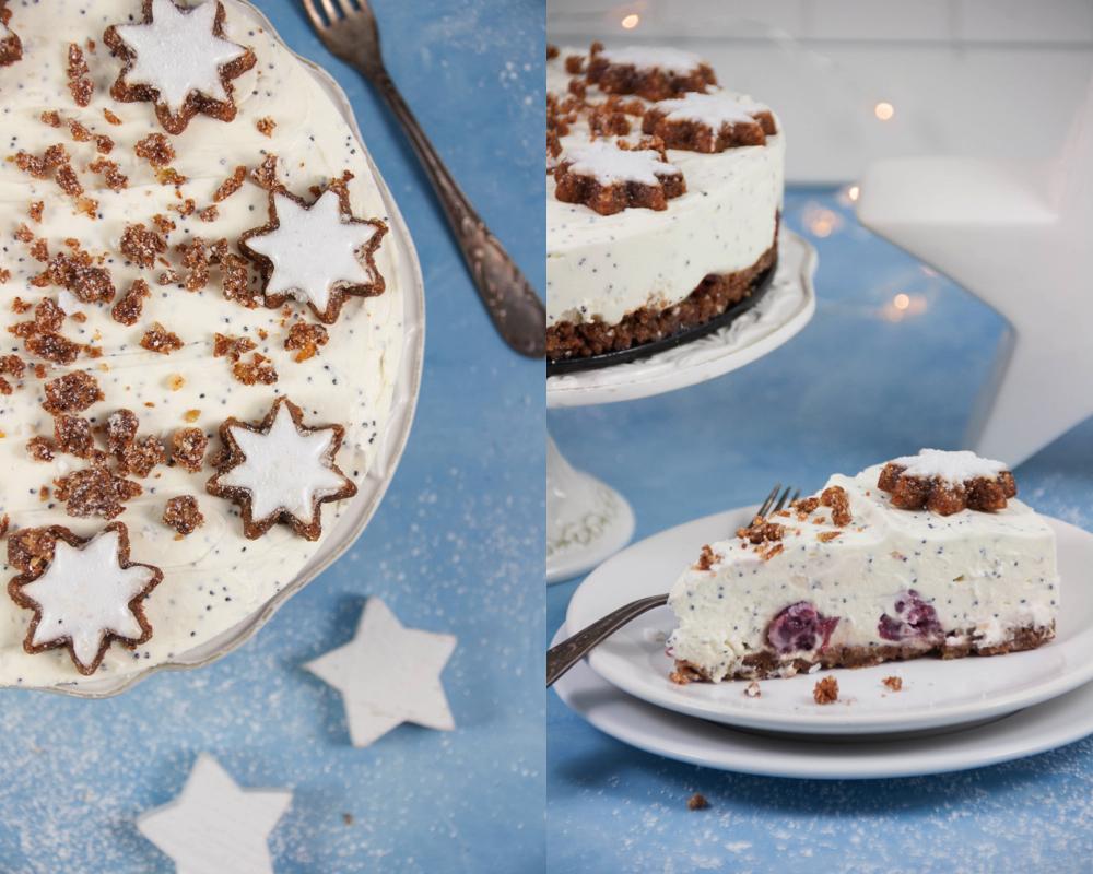 Krumelkreationen Zimtstern Cheesecake Mit Mohn Und Kirschen