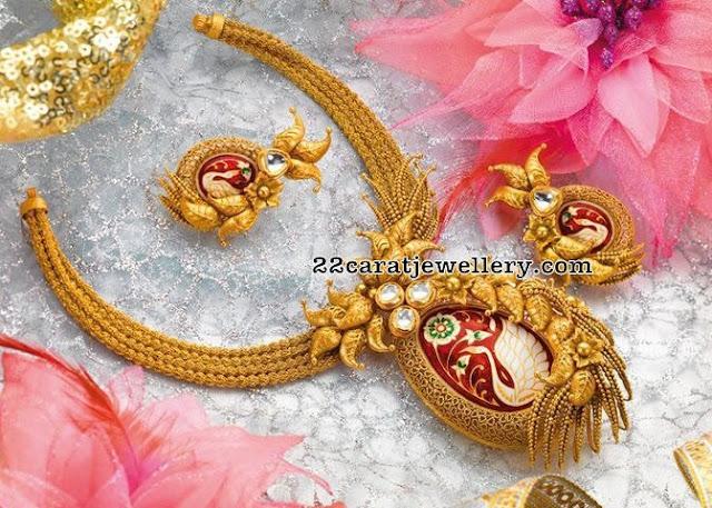 Trendy Antique Set with Meena Work Pendant