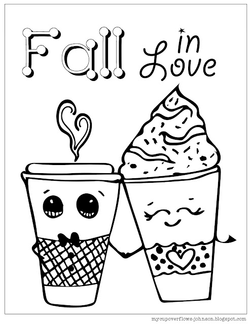 fall coloring page boy and girl coffee cups