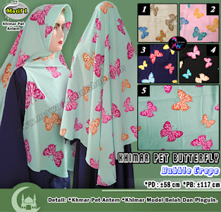 Khimar pet bubble crepe motif butterfly model pinguin