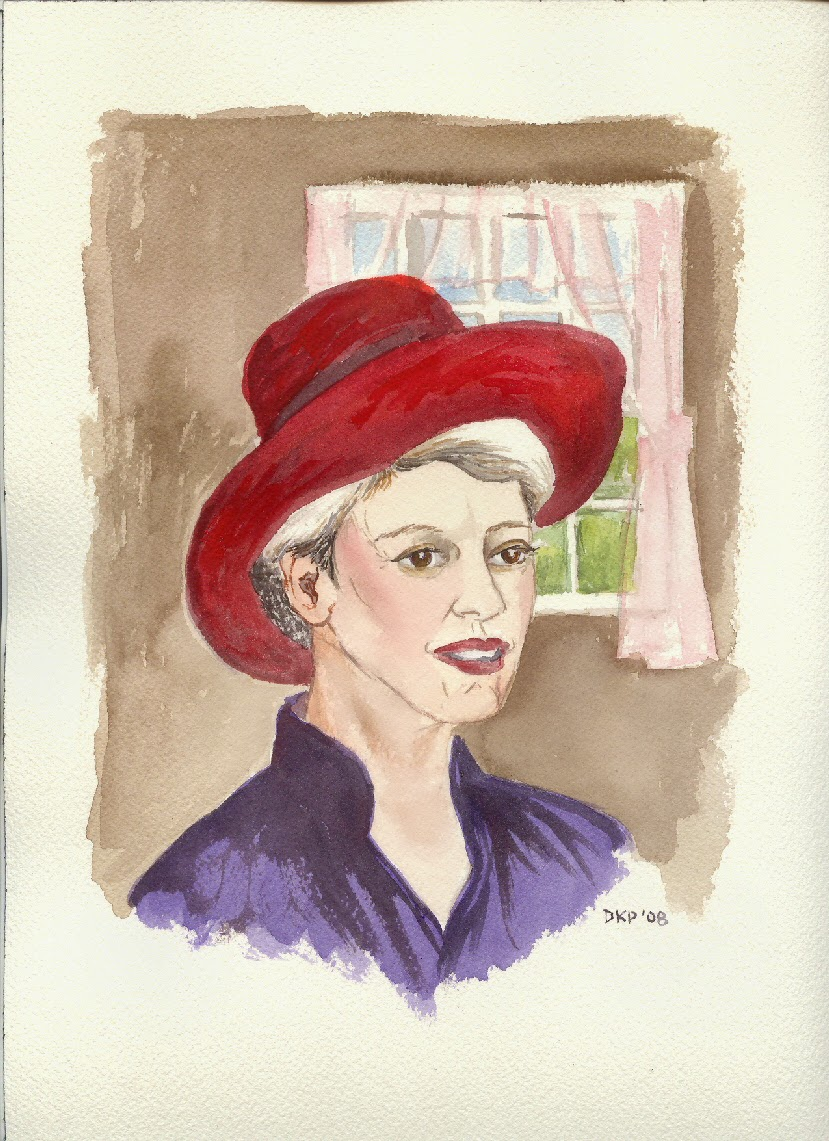 red hat lady art prim retro look