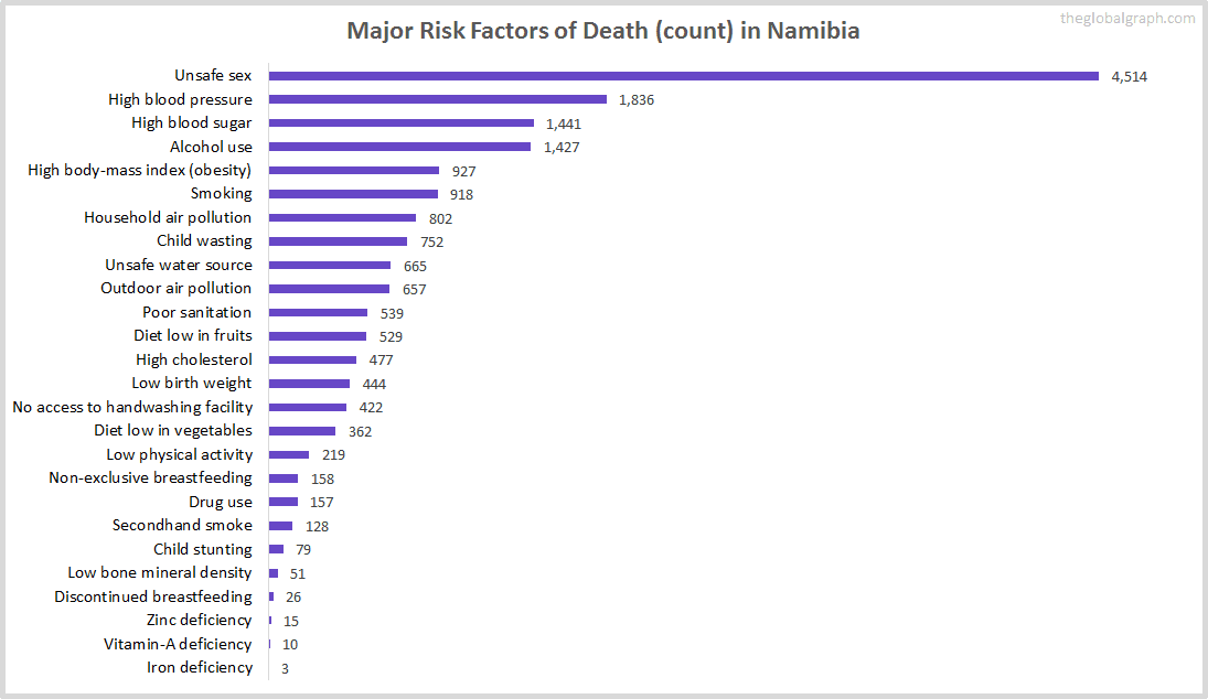 Major Cause of Deaths in Namibia (and it's count)
