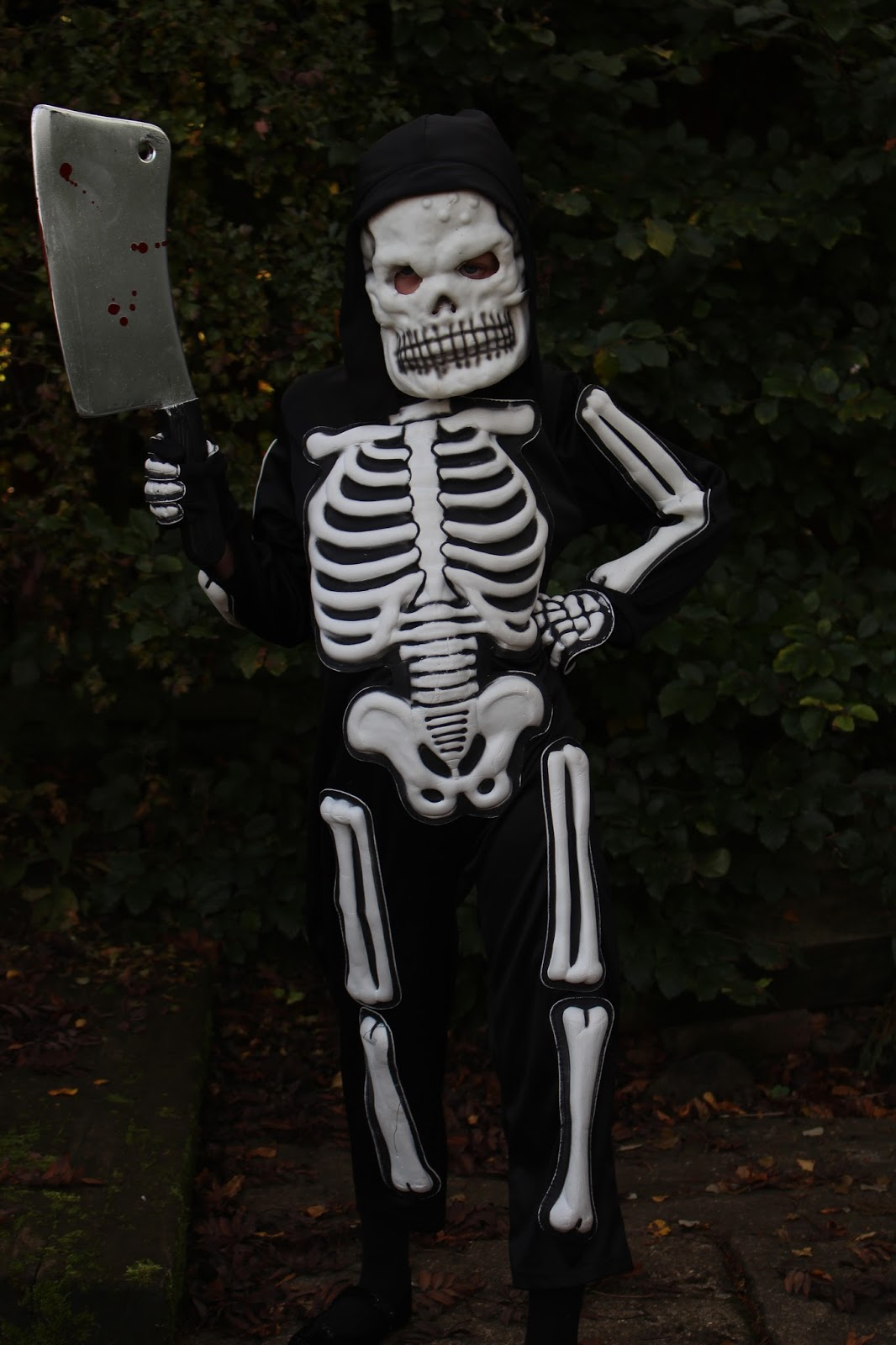 Child's skeleton costume.