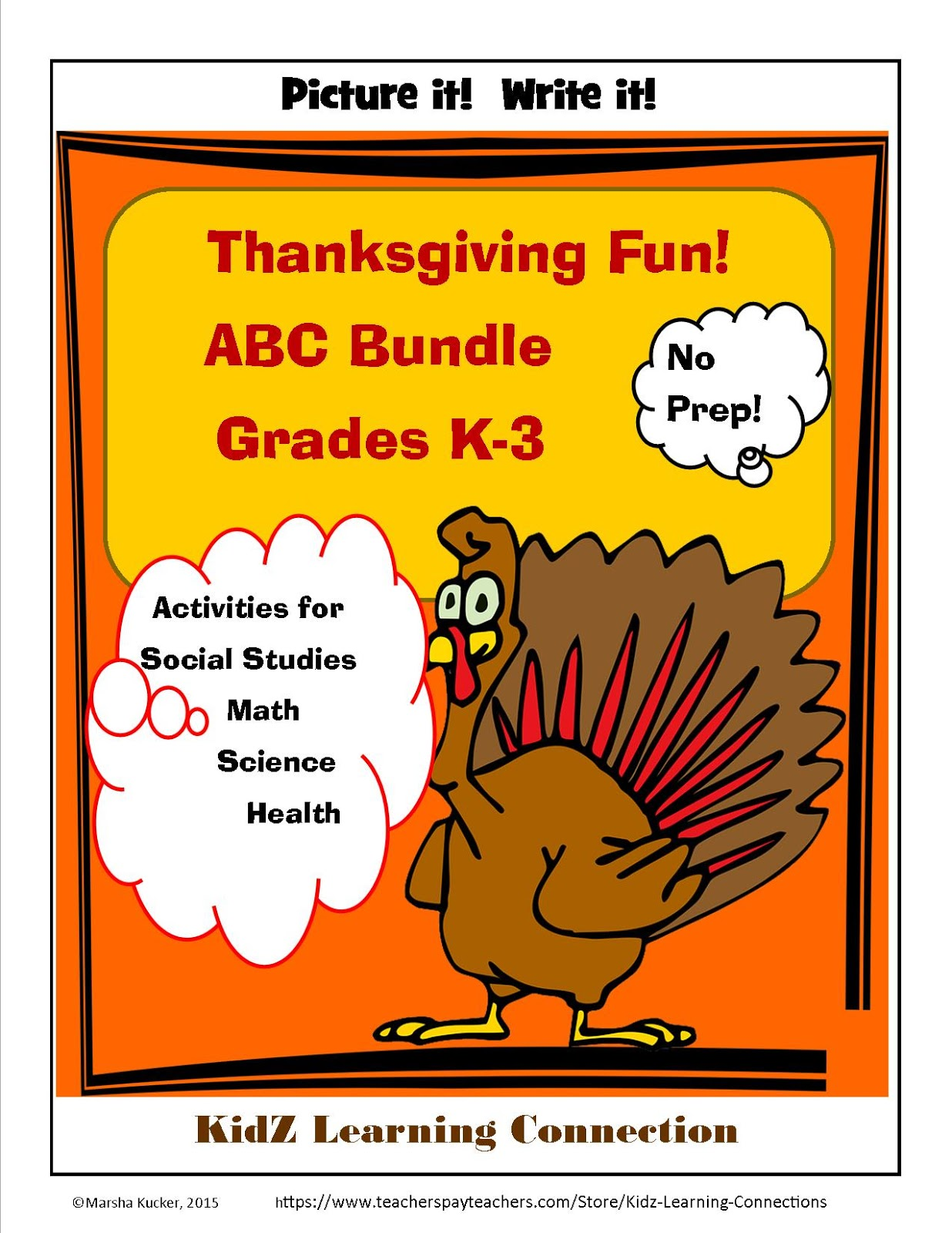 Kidz Learning Connection All About Thanksgiving Activity Bundle
