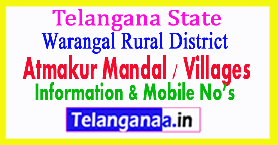 Atmakur Mandal Villages in Warangal Rural District Telangana