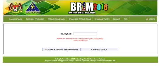 Laman web semak terima BR1M