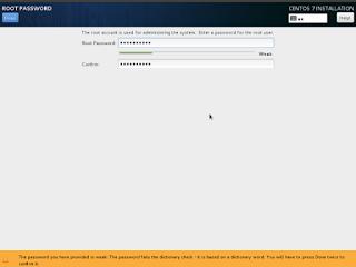 CentOS7 Installation change root password Screenshot