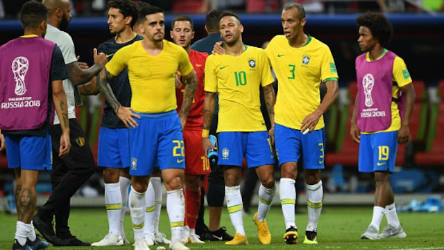 Skuat Brasil bersedih lantaran takluk dari Belgia di 8 besar Piala Dunia 2018