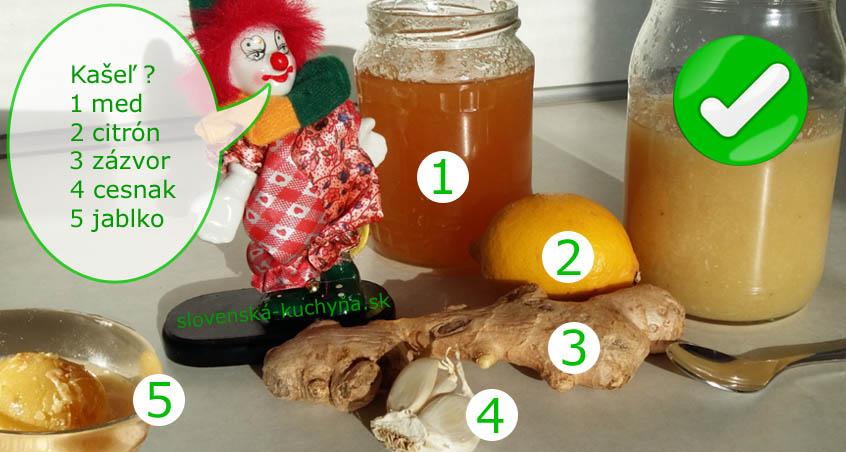 Med, citrón, zázvor, cesnak, jablko