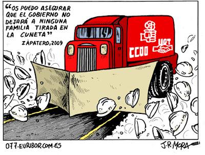 Os puedo asegurar que el gobierno no dejará a ninguna familia tirada en la cuneta, Zapatero, 2009