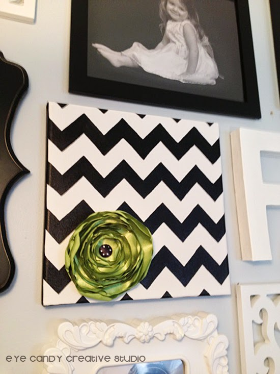 skylar raine canvas art, black and white chevron, handmade art