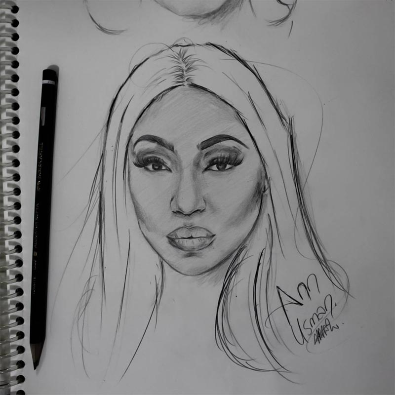 Nigerian lady makes cute pencil art drawing of Genevieve Nnaji, Omotola, Yemi Alade, others