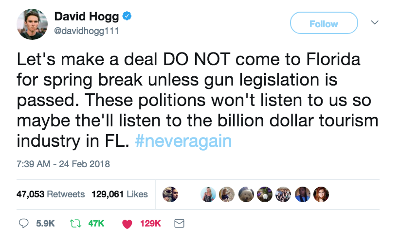 Gun Control Tweet.  A very interesting proposition. Hit the Florida lawmakers where it hurts. Thoughts and Prayers. marchmatron.com