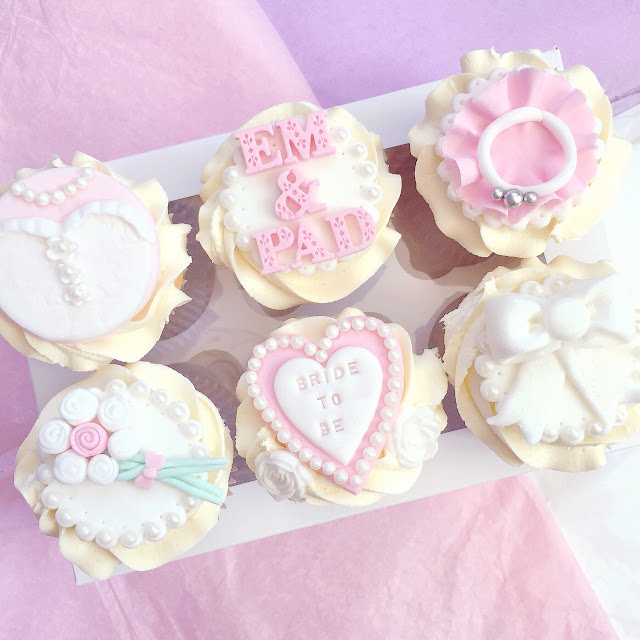 Engagement Bridal Cupcakes with Fondant Decorations