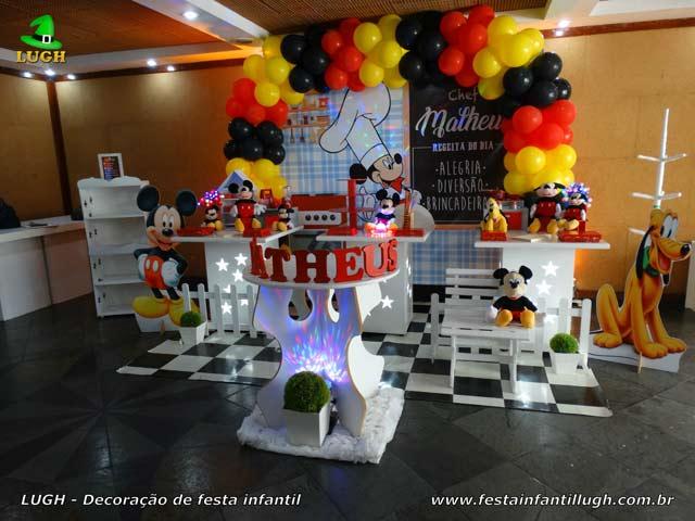 Decoração festa de aniversário infantil Mickey Chef de cozinha - Mesa temática Cozinha do Mickey