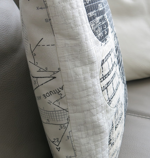 Luna Lovequilts - A black and neutral cushion / pillow - Grid machine quilting detail