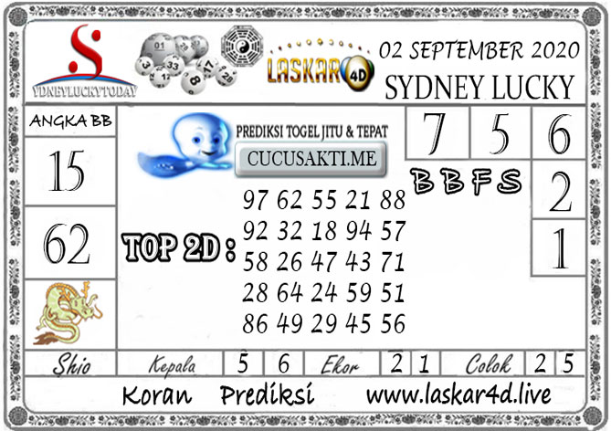 Prediksi Sydney Lucky Today LASKAR4D 02 SEPTEMBER 2020