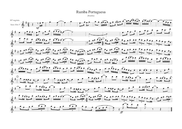 Rumba Portuguesa Partitura para saxo alto y tenor sheet music