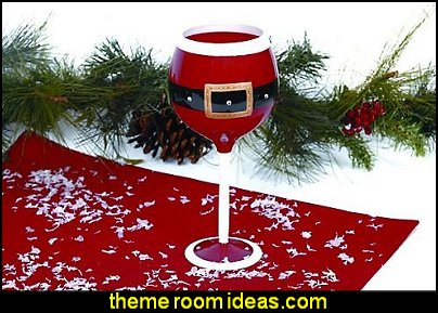 Santa Belt wine glass christmas kitchen decorations - Christmas table ware - Christmas mugs  - Christmas table decorations - Christmas glass ware - Holiday decor - Christmas dining - christmas entertaining - Christmas Tablecloth - decorating for Christmas - Cookie Cutters