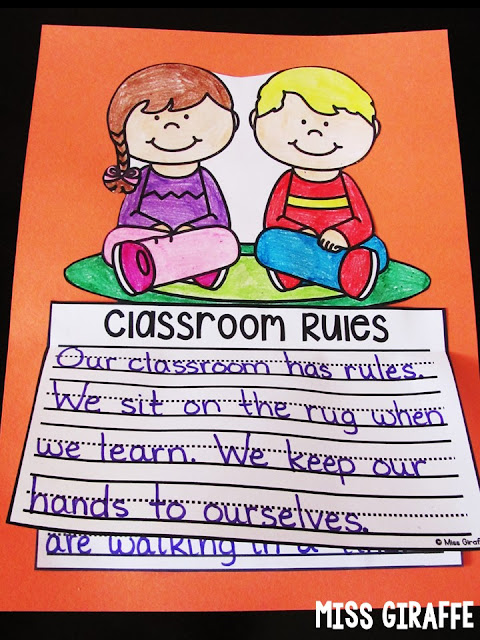 Classroom Rules writing activity that makes an adorable no prep craft - I love all these ideas for the first week of school!