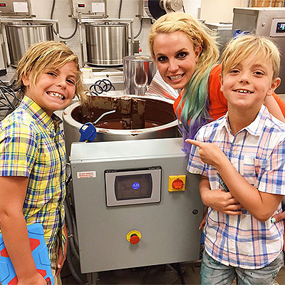 Britney with Preston and Jayden at the chocolate factory
