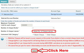 how to apply cheque book in sbi net banking