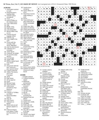 photograph relating to New York Times Crossword Printable Free Sunday named crossword puzzles solutions: Printable Halloween Tickets