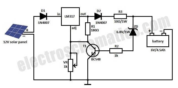 دائرة شحن لبطاريات 6V / 4.5Ah بالطاقة الشمسية