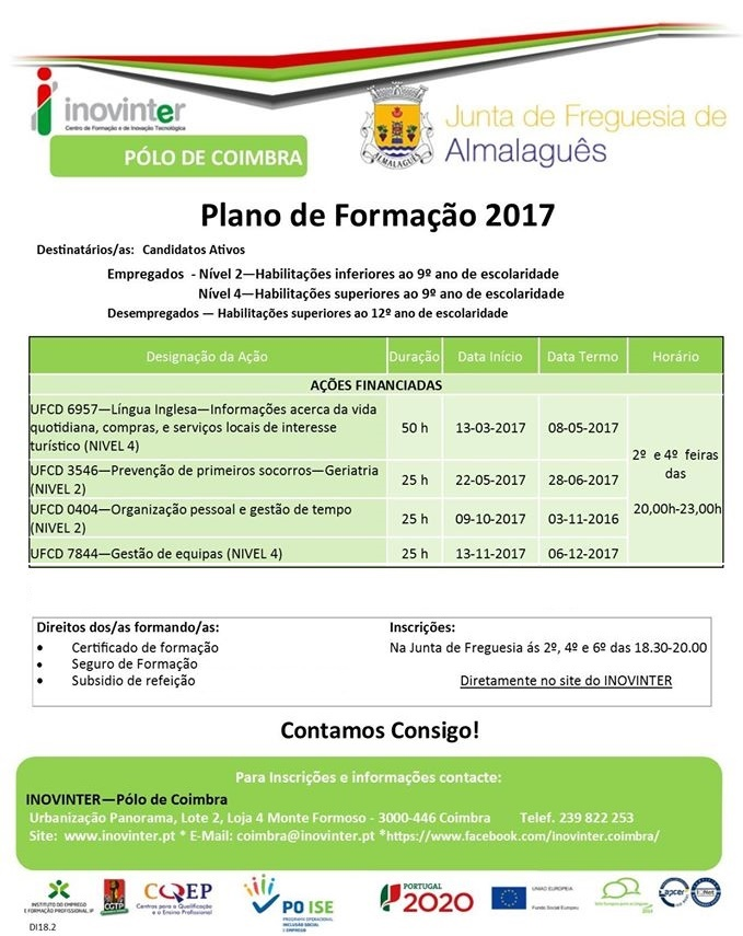 Cursos gratuitos / subsidiados em Almalaguês (Coimbra)