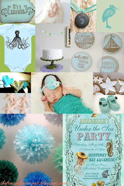 Sea+Vintage+Ocean+Blue+Aqua+Turquoise+Wedding+Baby+Shower+Theme - Oh-cean, Baby!