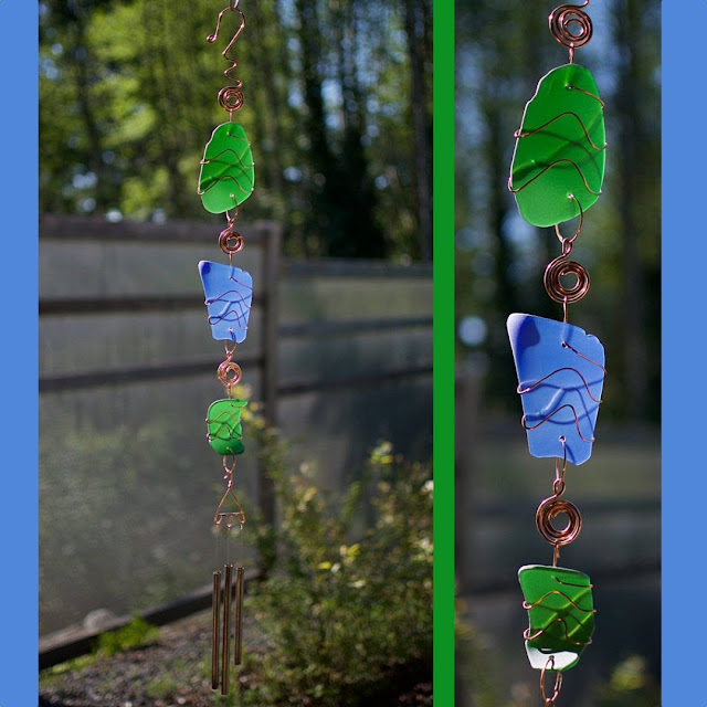 Handcrafted glass and copper wind chime by Coast Chimes