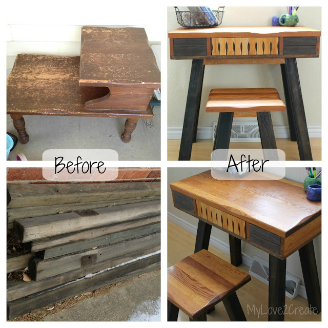 MyLove2Create, I turned an end table into a desk!