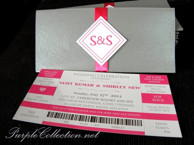Concert Ticket Wedding Card, pink grey, magenta, colour, theme, marriage, modern, unique, special, malaysia, singapore, kuala lumpur, johor bahru, affordable, online, sell, sale, buy, purchase, portfolio, gallery, printing, cetak, kad kahwin, handmade, hand crafted, design, custom made, perak, ipoh, kuantan, pahang, penang, selangor, satin ribbon, indian wedding, chinese wedding, love is the ticket