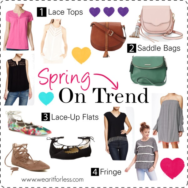 Lace up flats, saddle Bags, Lace Tops, Fringe, top trends for spring
