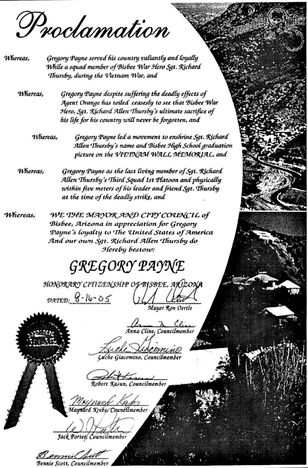 MY BISBEE, AZ  PROCLAMATION - FROM THE BISBEE AZ MEMORIE GROUP AND 7 AZ GOVERNORS.
