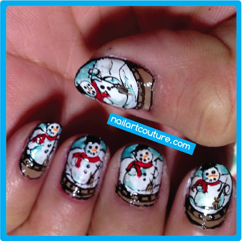 e016b04c64 Christmas Nail Art #1: Snow Globe