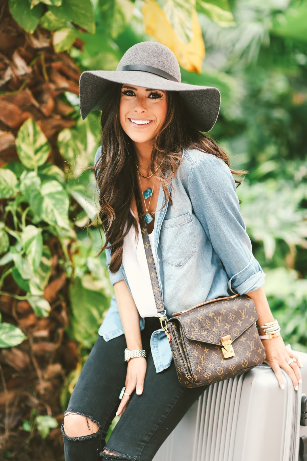 emily gemma, the sweetest thing blog, BP chambray, how to style chambray in spring and summer, chambray outfit ideas, pinterest travel outfit ideas, chambray shirt unbuttoned over tank top outfit, H&M hat, grey floppy hat, louis vuitton pochette metis, michael kors cross body, vanessa mooney jewelry, turquoise necklace vanessa mooney, topshop tank tops white, airport outfits cute, stylish outfits for airport, stylish outfit ideas for traveling pinterest, mother looker denim black, vince camuto conley bootie, grey vince camuto bootie, what to wear to the bahamas in february